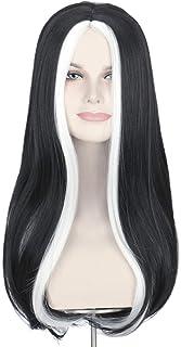 Missuhair Black White Strands Wig - Long Wavy Center Part Women Halloween Costume Wig