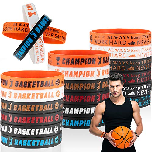 BBTO 36 Pulseras de Silicona Motivacionales de Baloncesto Brazalete Pulsera Elástica Deportivas para Suministros de Fiesta de Tema de Deporte Regalo de Ejercicio de Gimnasio