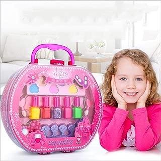 Moshbu Children Handheld Makeup Case Cosmetic Set, Portable Kids Pretend Play Nail Polish Toiletry Organizer Storage Box Preschool Hanging Bag Accessories Dress Up Toys For Little Girls Toddler Beauty