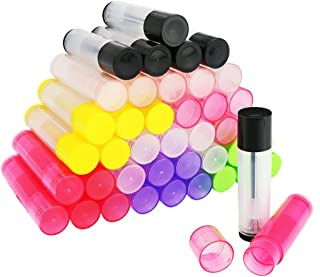 Newbested 50 Pieces DIY Empty Lip Balm Container,lip balm tubes with 3/16 Oz (5.5 ml)£¬Color Random
