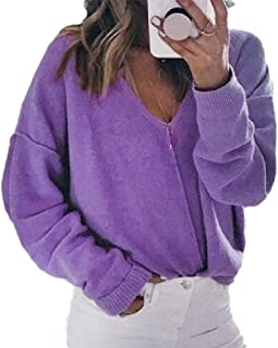 Womens Fleece Knit Long Sleeve Solid Color Deep V Neck Pullover Loose Sweater Outwear