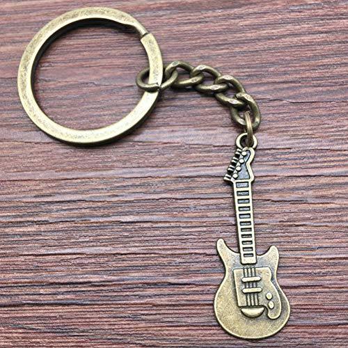 TAOZIAA Schlüsselring Gitarre Schlüsselbund 32x12mm Antike Bronze Handgemachte Metall Keychain Souvenir Geschenke Für Frauen