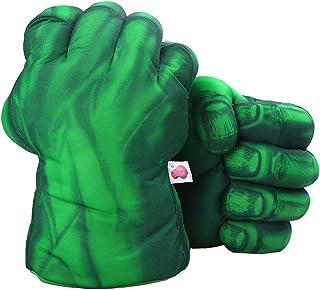 DDGOJUME Guanti Hulk Verdi, 1 Paio di Guantoni da Boxe Verdi Morbidi Costume di Peluche a Mano di Pugno per Bambini e Rega...