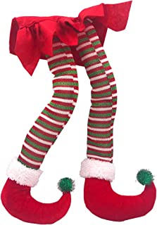 Hokic 20'' Elf Legs for Christmas Decorations Cotton Christmas Elf Legs for Christmas Tree Fireplace Wreaths Car Decor (Red White)