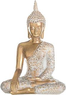 Figura Buda de Resina Blanca y Dorada exótica de 43x19x30 cm - LOLAhome