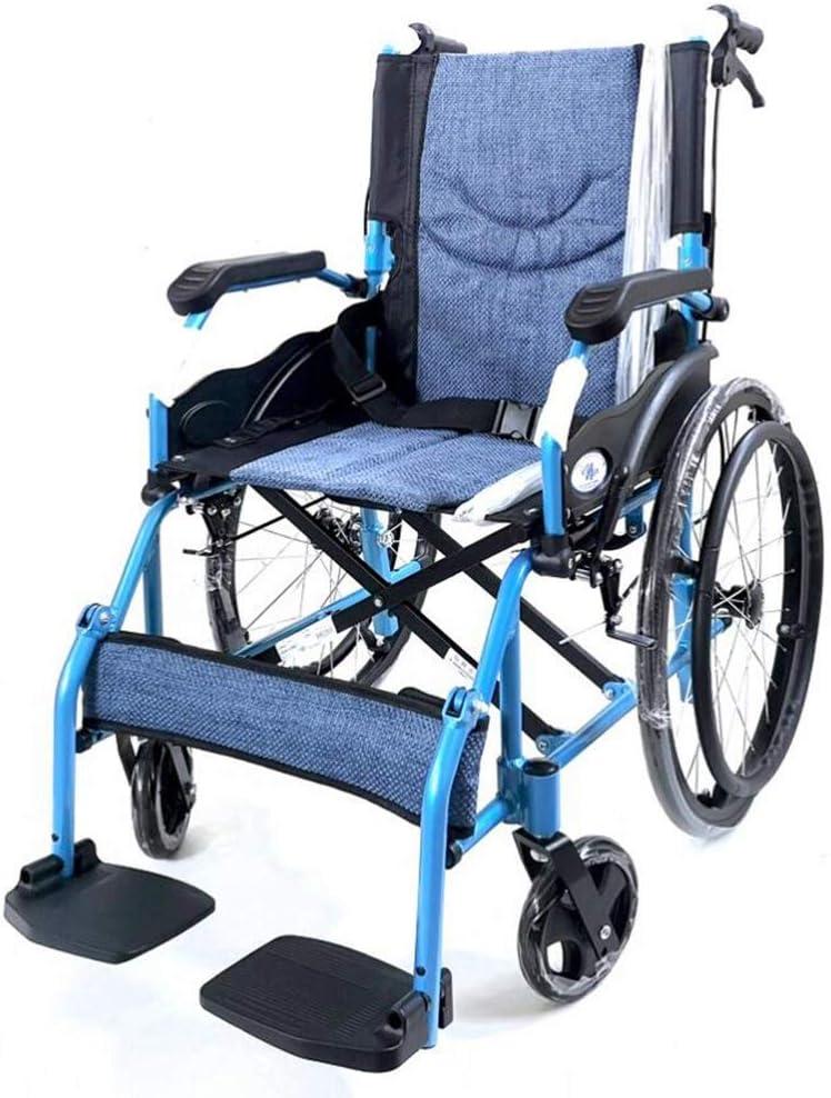 Plegable Silla de Ruedas Ligera para Ancianos/niños/discapacitados, aviación Titanio Aleación de Aluminio Viaje Ligero Alta Elasticidad Transpirable Cómodo Cojín de Asiento Transporte de Llantas