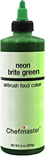 Chefmaster by US Cake Supply 9-Ounce Airbrush Cake Food Color Neon Brite Green
