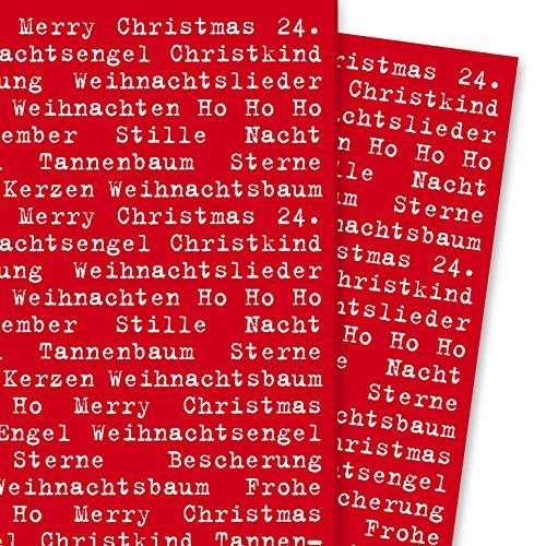 Typografisches Weihnachts Geschenkpapier mit Weihnachtsgrüßen rot weiß (4 Bögen, 32 x 48 cm) Dekorpapier, Papier zum Einpacken, für tolle Geschenk Verpackung und Überraschungen