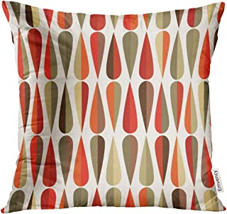 UPOOS Throw Pillow Cover Mid Century Modern Style Retro with Drop Shapes in Various Color Tones Abstract for All and Purposes Decorative Pillow Case Home Decor Square 18x18 Inches Pillowcase