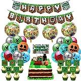 Articoli per Feste per Videogiochi, Includono banner di buon compleanno con gioco pixel, palloncini per decorazioni per torte e nastro per bomboniere a tema Minecraft