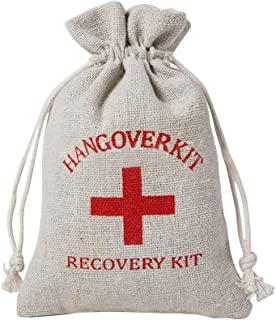 Outdoorfly 12 Packs Hangover Kit Bags 4X6 with Red Cross Drawstring Favor Bags Cotton Muslin Recovery Kit Bags Survival Kit Bags for Wedding Party Supplies (12pcs Cross)