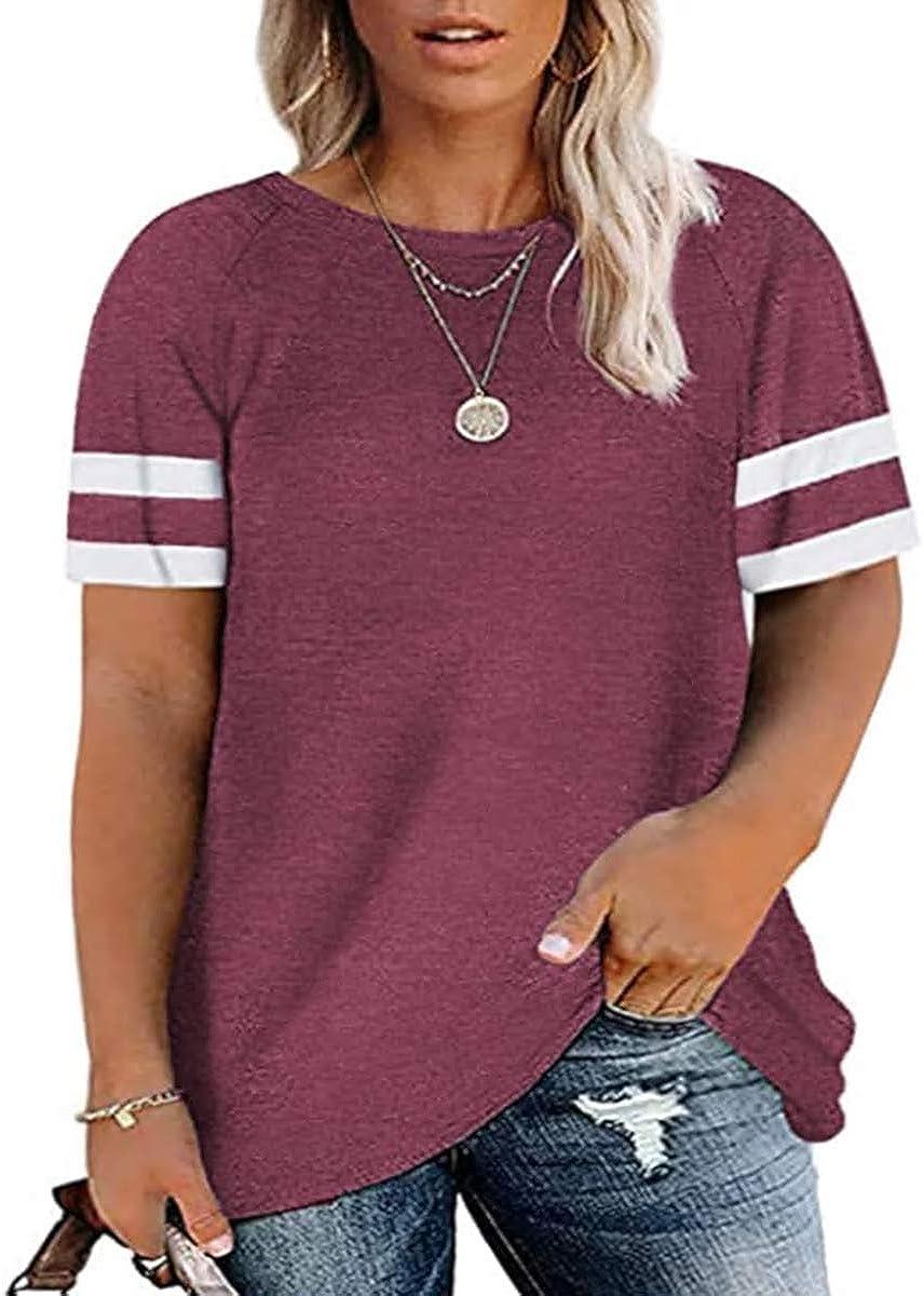 Ritera Womens Plus-Size Tops Summer Loose Fit T Shirts Flowy Striped Short Sleeve Tee XL-5XL