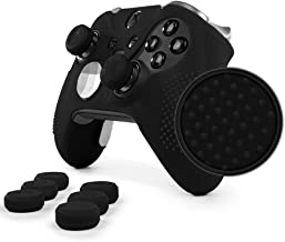 Foamy Lizard ElitePro Grip Studded Skin Set for Xbox One Elite Controller Sweat Free Silicone Skin w/Raised Anti-Slip Studs Plus Set of 8 QSX-Elite Thumb Grips (Skin + QSX-E Grips, Black)