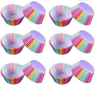 Lezed 300 pièces Arc en Ciel Doublures Moules à Muffin Caissettes Cupcake Arc en Ciel Arc-en-Ciel des Moules à Gâteaux pou...