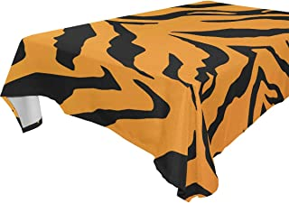 FCZ Rectangle Table Cover Animal Tiger Stripes Black Orange Background 60 x 108-inch Restaurant Banquet Decoration Oblong Round Coffee Heavy Weight Polyester Table Cloth