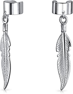 Native American Style Boho Leaf Feather Dangle Cartilage Ear Cuffs Clip Wrap Helix Earring 925 Sterling Silver