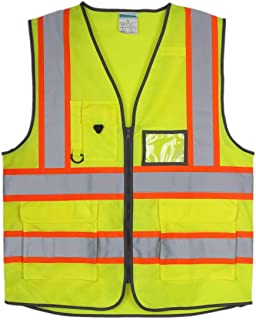 SHORFUNE High Visibility Safety Vest with Pockets, Mic Tab, Reflective Strips and Zipper, Yellow, ANSI/ISEA Standards, XL