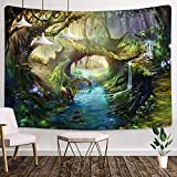 Fantasy Wonderland Tapestry 80x60 Inches The Deer by the River Art Home Art Decor Wall Hanging Tapestry for Living Room Dorm Background Tapestries GTHXMT44