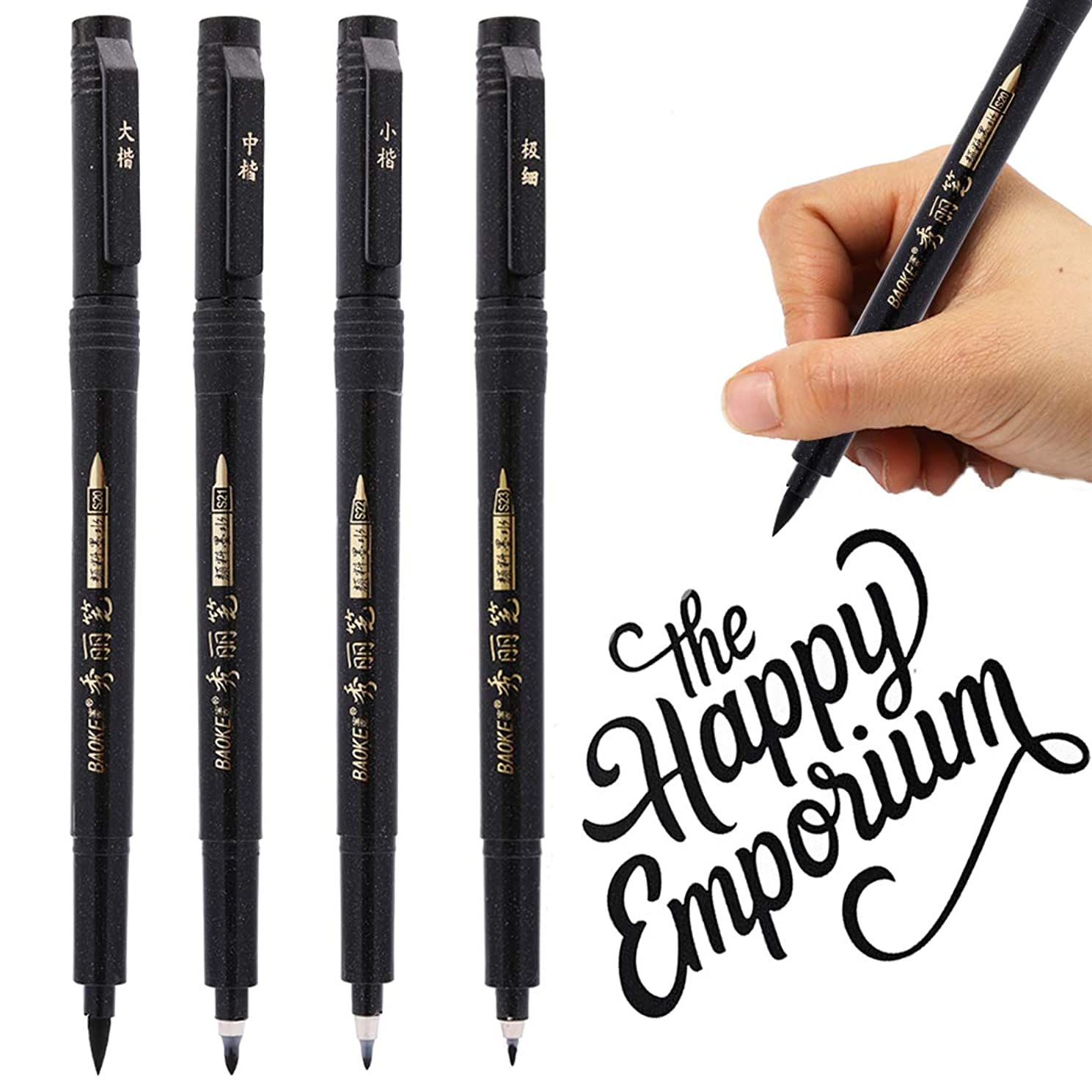 Refillable Brush Marker Pens for Hand Lettering - 4 Size Black Calligraphy Ink Pen for Beginners Writing, Signature, Illustration, Design