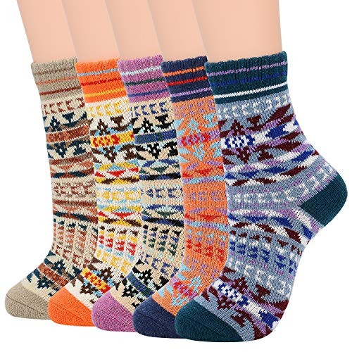 Zando Womens Socks Hiking Socks Wool Socks Warm Socks for Women Crew Socks Soft Thick Socks Christmas Socks Geometric Designs Shoe Size: 5-9