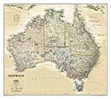 National Geographic: Australia Executive Wall Map - Laminated (30.25 x 27.25 inches) (National Geographic Reference Map)