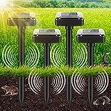 Ahuyentador de Ratones Solar, 4 Piezas Repelente Topos Ultrasonico Solar con IP56 a...