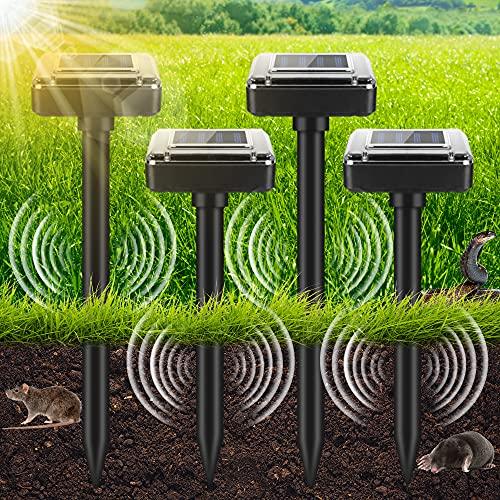 Ahuyentador de Ratones Solar, 4 Piezas Repelente Topos Ultrasonico Solar con IP56 a Prueba de Agua, Espanta Topos Solar, Control de Lunares, Repelente de Lunares, Control de Plagas para el Jardín