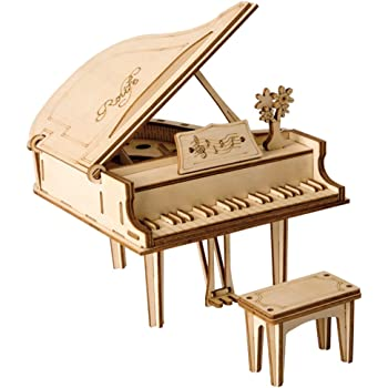 ROBOTIME 3D Laser-Cut Puzzle Grand Piano Model Kits DIY Arts & Crafts Great Gift Toys for Boys and Girls Age 8+