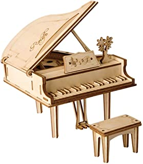 Rolife 3D Wooden Assembly Puzzle Wood Craft Kit 3D Puzzle Fun Creative DIY Arts and Crafts Piano Model Brain Teaser Assemb...