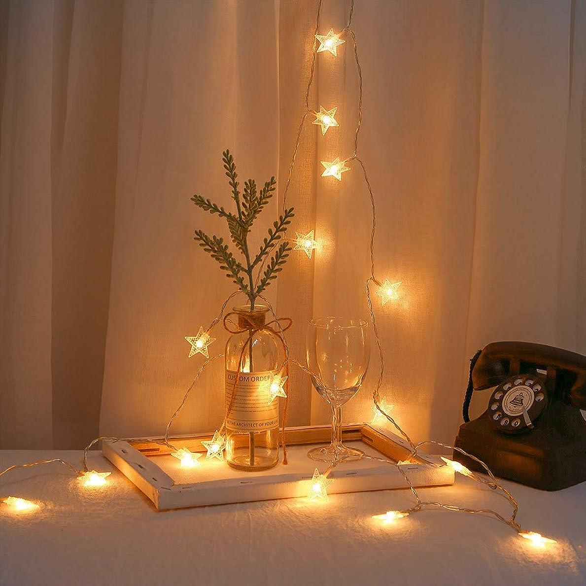 裏切り者線円形家の装飾ライト 家の照明 クリスマスの日USBランタン五ta星形の装飾的なライトストリングガーデン 休日の照明 LEDライトストリング 装飾的なライトストリング 祭りのために20LED (暖かい白)
