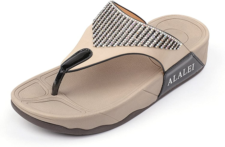 ALALEI Women's Sandals, Summer Fashion Elastic T-Strap Elegant Rhinestone Casual Thick-Heel Sandals