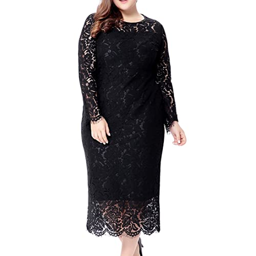e095e010019 Eternatastic Women s Floral Lace Long Sleeve Plus Size Lace Dress Black