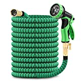50ft Expandable Garden Hose with 9 Function Nozzle, Lightweight Water Hose with Brass Fittings, Gardening Flexible Yard...