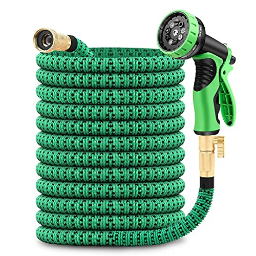 50ft Expandable Garden Hose with 9 Function Nozzle, Lightweight Water Hose with Brass Fittings, Gardening Flexible Yard Hose Pipe for Watering and Washing
