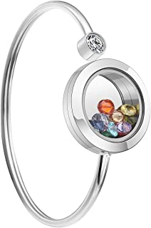 Personalized Custom Stainless Steel Clear Glass Memory Living Floating Charm Locket Bracelet Bangle with 12pcs Cubic Zirconia Birthstones for Women