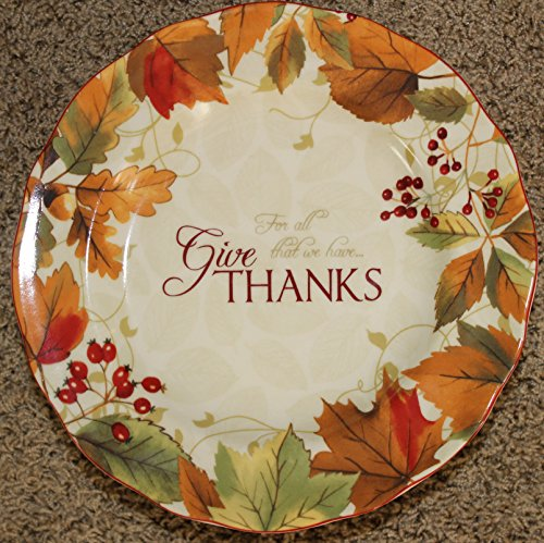 """222 Fifth Harvest Festival """"Give Thanks for All That We Have"""" Thanksgiving Cake Plate - Approx. 10-3/4"""""""
