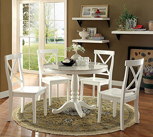 Carefree Home Furnishings Penelope Transitional Style White 5-Piece Round Dining Table Set
