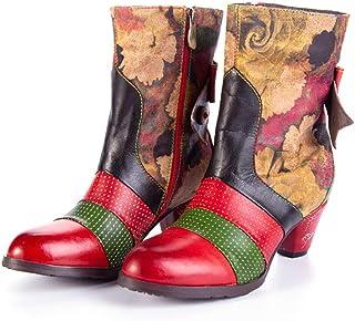 di Cuoio delle Autunno E Inverno Stivali Donna Side Zipper Moda Stivaletti Scarpe Stile Nazionale Mid-Tacco