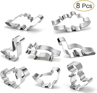 Dinosaur Cookie Cutter Set – Joyoldelf 8 Pcs Biscuit Cutter Stainless Steel Mould for DIY Fondant Dough Sugarcraft Pastry Cake Decoration
