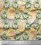 Soimoi Gelb Viskose Chiffon Stoff Blätter & Magnolie