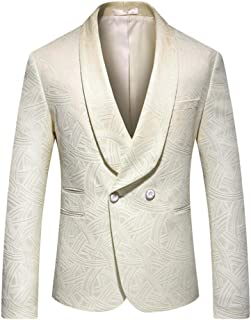 Mens Suits Slim Fit Floal 2 Piece Suit Sold Separately Shawl Lapel Blazer and Pants