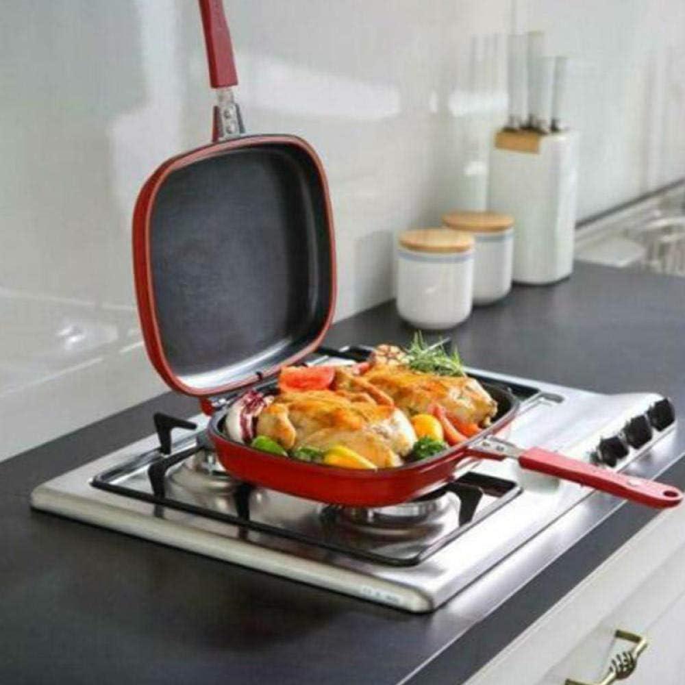 chuanglanja tefal Casserole Poêle à Frire Nouvellement Double Face Plateau de Cuisson antiadhésif Portable pour la Cuisine à Domicile cuisson-28 cm 32cm