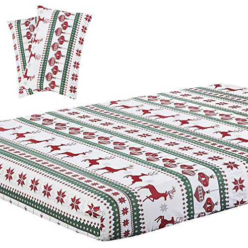 Vaulia Soft Microfiber Fitted Sheet, Printed Pattern Design (King, Red Reindeer)