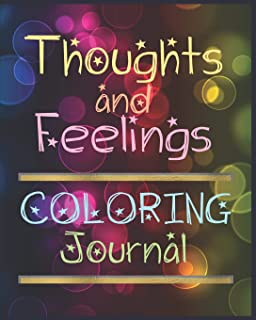 Thoughts And Feelings Coloring Journal: Beautiful Half LIned And Half Mandala Pages Notebook