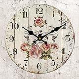 HUABEI 35 cm Orologio da Parete di Legno Silenzioso Stile Vintage Decorazione a Muro (Rosso)