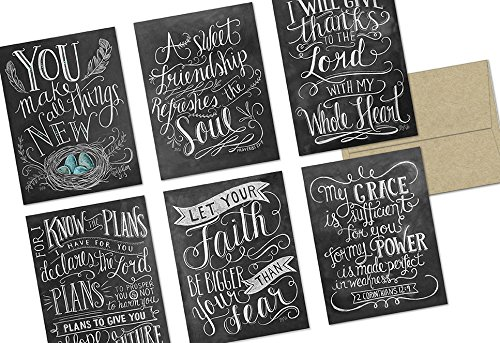 Note Card Cafe Religious Greeting Card Set with Envelopes | 72 Pack | Blank Inside, Glossy Finish | 6 Chalkboard Have Faith Designs | Bulk Set for Greeting Cards, Occasions, Birthdays