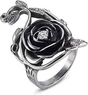 Classic Vintage Stainless Steel Big Rose Flower Vine Statement Ring Gothic CZ Finger Party Band for Women