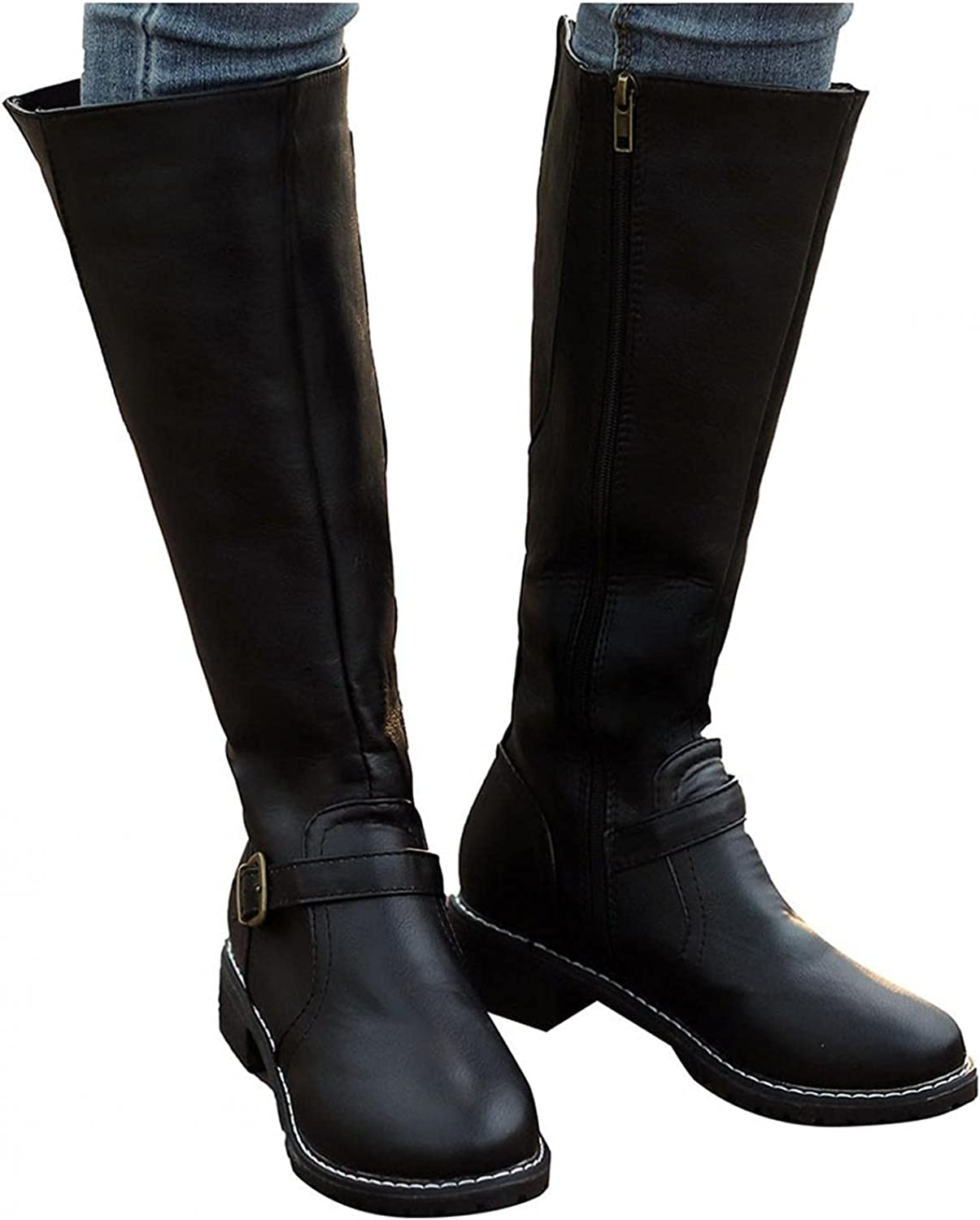 Eduavar NEW Boots safety for Women Womens Fashion Knee High Calf Wide Boot