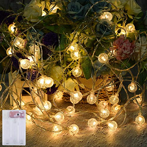 U/S Battery Powered Globe Fairy String Lights, 34Ft 50-LED Waterproof Crystal Globe String Lights, 8 Modes Indoor/Outdoor Lights Decoration for Home, Party, Patio, Window, Wall, Holidays (2 Pack)