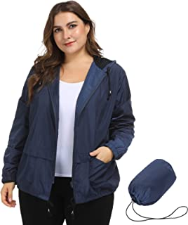 Hanna Nikole Women's Plus Size Lightweight Raincoat Hooded Packable Rain Jacket